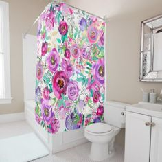 Purple Pink Bright Colorful Chic Modern Floral Shower Curtain - rustic country gifts style ideas diy
