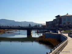 """Napa River and buildings along the River-walk"" #travel #NapaValleyHoliday"