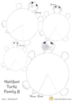 Hattifant`s hungry Turtle Family - Hattifant Craft Activities For Kids, Preschool Crafts, Diy Crafts For Kids, Easy Crafts, Arts And Crafts, Paper Art, Paper Crafts, Turtle Crafts, Printable Crafts