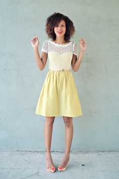 Style Me Grasie looks fabulous in the yellow Sorbetto Dress from BHLDN. From fancy fine to everyday in a flash!