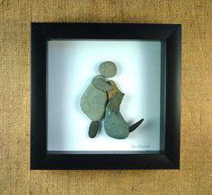 Dog, Love, Friendship. 6X6 shadow box, Pebble Art, natural River Rocks.
