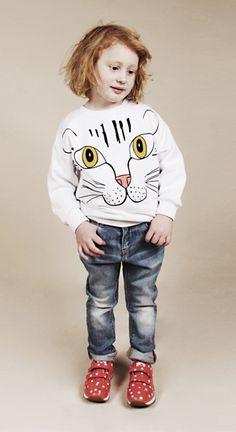 Mini Rodini AW12 Eye of the Tiger Collection Cat Face Print Sweatshirt