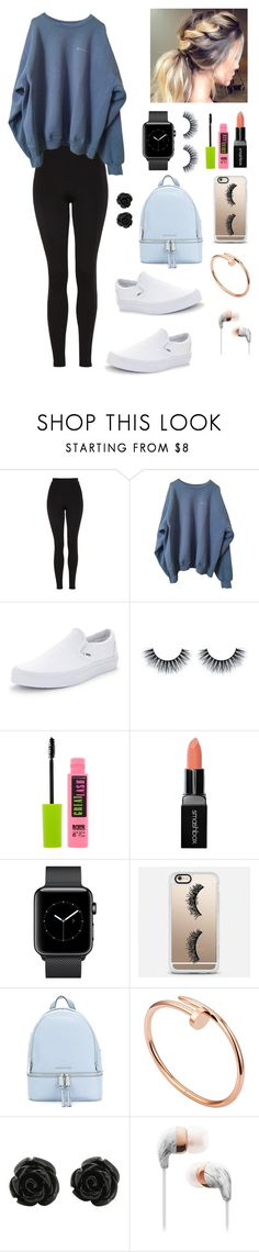 """Been on the road to Tahoe since 3:06."" by gussied-up ❤ liked on Polyvore featuring Topshop, Vans, Maybelline, Smashbox, Casetify, MICHAEL Michael Kors and Cartier"