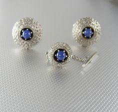 Vintage star sapphire cufflinks anson silver wedding sculpted classy blue star sapphire cufflinks vintage tie tack set designer anson mens fine jewelry sciox Image collections