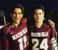Tyler Posey and Dylan O'Brien on the set of Teen Wolf Season 4!