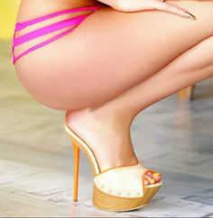 Wooden mules, great legs and tush