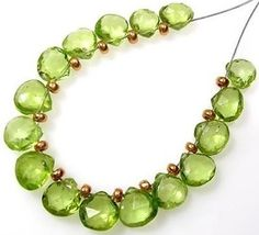 GENUINE GEMSTONE APPLE GREEN PERIDOT FACETED HEART BRIOLETTE BEADS  P1 #Faceted
