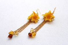 Yellow earrings  Flower earrings  Handmade polymer by insoujewelry, $31.00