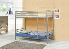 Coaster Modern Contemporary Metal Bunk Bed, Silver, Twin. Details at http://youzones.com/coaster-modern-contemporary-metal-bunk-bed-silver-twin/