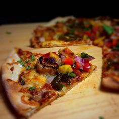 Jamaican Jerk Shrimp Pizza with Candied Jalapenos & Spicy Peach, Pineapple & Mango Salsa