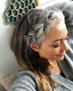 grey hair New Years Resolution See more art Visit more Galleries Read more than I do already Im pictured here in front of one of my favourite Art Grey Hair Don't Care, Long Gray Hair, Silver Grey Hair, White Hair, Black Hair, Gray Hair Highlights, Natural Highlights, Curly Hair Styles, Natural Hair Styles