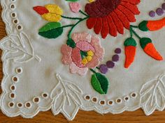 Kalocsa embroidery doily Decor accessories Hand embroidered