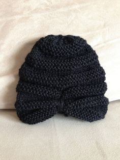 Knit Baby Turban Hat Black by MnStyle on Etsy, $25.00