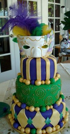 Mardi Gras Bridal Shower Cake,   Cake by: LoveofSugar