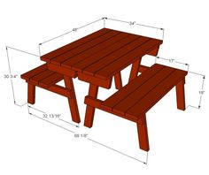 Ana White | Build a Picnic Table that Converts to Benches | Free and Easy DIY Project and Furniture Plans