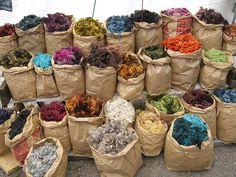 Dyed Gotland Wool at a handicraft market in Sweden