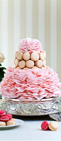 Pink Ruffle Wedding Cake  www.tablescapesbydesign.com https://www.facebook.com/pages/Tablescapes-By-Design/129811416695