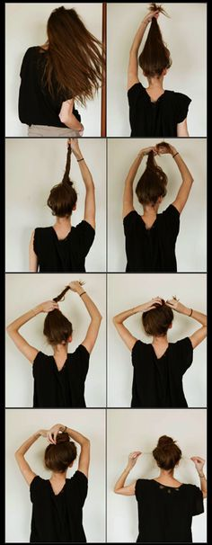 How to do a top knot - 1 pinner said: I *just* did this and while I would never wear it out in public, it's ridiculously quick and easy, and holds surprisingly well. Great for lounging around or just keeping hair out of my face!
