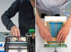 Miniature screen printing & letterpress rigs designed by the traveling open source design studio Letterproeftuin out of the Netherlands. Created for the International Poster and Graphic Design Festival Chaumont in 2013, the miniature screen and letter printing presses were created so that Letterproeftuin could create smaller prints while on location at printing shows.