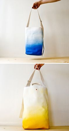 The LTX Collection is a collection of 3 sized bags by French brand TeddyFish, made of raw canvas in gradient latex coating. Tye Dye, Shibori, Dip Dye Shirt, Mein Style, Crafty Craft, Fabric Painting, Diy Clothes, Diy Fashion, Purses And Bags