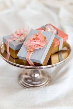 Favor boxes with flowers and velvet ribbon (from Heather Bullard / Stylish Weddings Book)