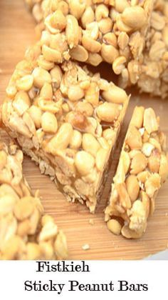 A vegan and a gluten free dessert or snack with no added oil or hydrogenated fats.  Fistkieh bars are simply made with raw, shelled toasted peanuts and sugar syrup to bind the nuts together.  These sticky bars can be easily found in almost all oriental sweet shops in Lebanon and there are so many options – sesame seeds, almonds, pistachios and cashews – but my favorite ones are the sesame and peanuts bars!