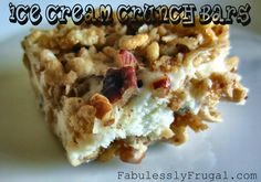 Ice Cream Crunch Bars or Topping: Rice Krispies, pecans, coconut, brown sugar, cinnamon, butter, & ice cream. A yummy ice cream sandwich treat for the summer!  http://fabulesslyfrugal.com/?p=155438