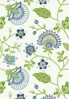 PORTOFINO, Blue and Green, T24369, Collection Bridgehampton from Thibaut