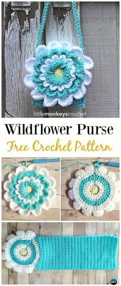 Little Girl's Wildflower Purse Free Crochet Pattern - Crochet Kids Bags Free Patterns