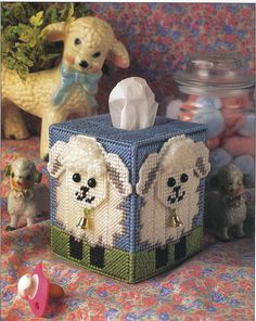 Baby Lamb tissue Box Cover Plastic Canvas by needlecraftsupershop, $3.50