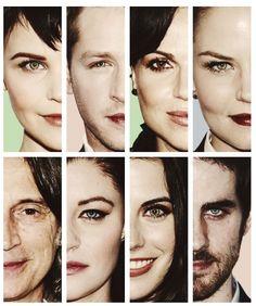 Snow White, Prince Charming, The Evil Queen, Emma Swan, Rumplestiltskin, Bell,Red Riding Hood, Hook