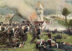 Assalto della fanteria prussiana a Plancenoit (Prussian infantry attack Placenoit during the Battle of Waterloo 1815)