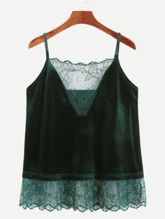 Cheap velvet cami, Buy Quality cami top directly from China top strap Suppliers: Dotfashion Velvet Cami Tops Women Dark Green Patchwork Lace Trim Sexy Top Strap Clothing 2017 Fashion Casual Camisole Cami Tops, Velvet Cami, Velvet Tops, Velvet Fashion, Creation Couture, Green Lace, Ladies Dress Design, Fashion Outfits, Accessorize Outfit