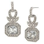 Earrings Drop | Regal Reflection Crystal Rectangular Pierced | Carolee Jewelry