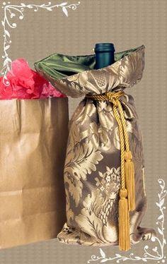 Wine bottle packed in silk pouch
