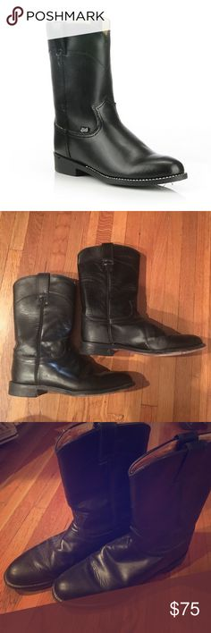 Justin Roper Boots- black leather Great condition, still many years on these bad boys! The coolest cowboy boots ever. Justin Boots Shoes Heeled Boots