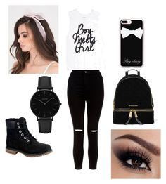 """""""why not?"""" by heavenlea-angel ❤ liked on Polyvore featuring New Look, Timberland, Casetify, MICHAEL Michael Kors and CLUSE"""