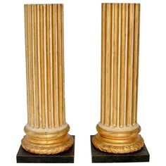 Pair of Gustavian Painted and Carved Giltwood 18th Century Colonns   From a unique collection of antique and modern pedestals at https://www.1stdibs.com/furniture/tables/pedestals/