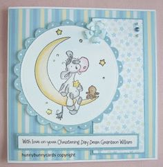 This is a card made for a friend's grandson's christening day. The request was for a fairly simple card and I thought this image was . Christening Cards For Boys, Baby Boy Christening, Baby Congratulations Card, New Baby Cards, Kids Cards, Making Ideas, Cardmaking, New Baby Products, Paper Crafts