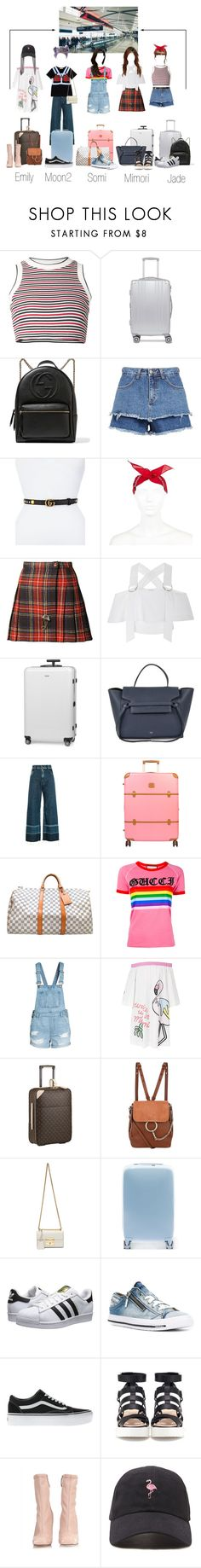 """""""Flying to Manila"""" by scarlet-offical ❤ liked on Polyvore featuring UNIF, CalPak, Gucci, River Island, Yves Saint Laurent, Rodebjer, Tiffany & Co., Rimowa, CÉLINE and Rachel Comey"""
