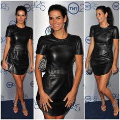 #style: Angie Harmon lightened the too hot to wear #leather in the Summer spirit by pairing a chic Azede Jean-Pierre mini leather dress with mirror metallic Jimmy Choo Lance sandals. #fashion