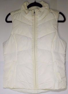Women's Land's END Cream Color Small (6-8) Sleeveless Ski Jacket  Down, Feathers #LandsEnd #QuiltedJackets