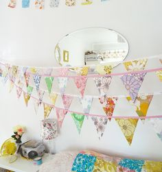 Vintage fabric bunting by Teawagon.