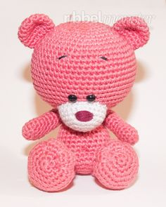 With this free crochet pattern you can easily make an amigurumi crochet teddy. Pina is a shy Teddy girl, which enjoys happy hours in nature with fresh air Crochet Teddy, Crochet Bear, Crochet Patterns Amigurumi, Baby Knitting Patterns, Amigurumi Doll, Crochet Toys, Mini Teddy Bears, Handmade Toys, Lana