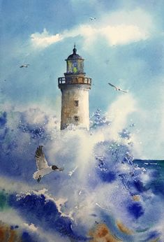 Lighthouse painting Original watercolor Seascape Wave and Seagull Wall art painting and Watercolor Landscape Paintings, Seascape Paintings, Watercolour Painting, Painting Art, Painting Abstract, Watercolours, Watercolor Ocean, Lighthouse Pictures, Lighthouse Painting