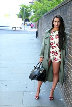 Romper &Trench Coat  Rose Print Romper: Sold Out Pants Version: HERE Khaki Green Trench Coat HERE The Beauty Bybel