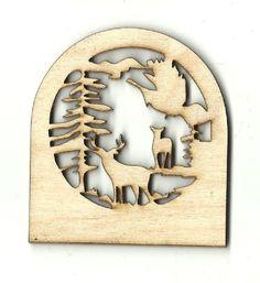 Deer in the Woods Scene Unfinished Laser Cut Wood Shape DER9