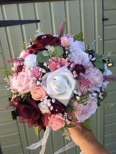 Burgundy, peach, baby pink wedding bouquet