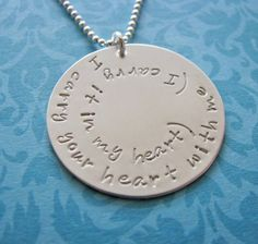 I carry your heart with me necklace - e.e. cummings poem - made to order. $50.00, via Etsy.