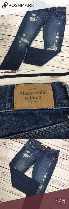 Abercrombie &Fitch Boyfriend Ripped Jeans Sz 6 Style:Boyfriend jeans Size:6 Type:Jeans Materials: 100 cotton Conditions:excellent conditon almost new Country manufactures: China Measurement is approximate: Waist:35 Hips:38 Thigh:21/5 Knee:15/5 Inseam:27 Outer seam:35   Please check the photos for more details and contact me for any questions. Thank you for looking for my listings. Abercrombie & Fitch Pants Straight Leg